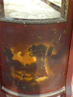 Antique Louis XV XVI Curved Glass Paint Decorated Vernis Martin Curio Cabinet