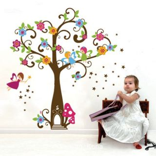 Tree Fairy Flowers Mushroom Wall Sticker Decal