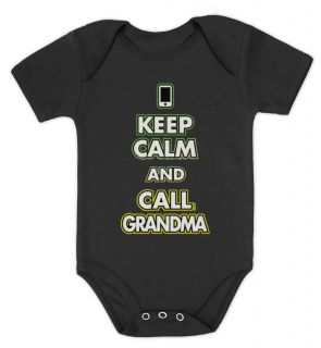 Keep Calm and Call Grandma Baby Romper Onesie Cute Boy Girl Shower Gift Bodysuit