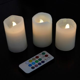 3pcs Romantic Flameless Timing Electronic Remote Control Color LED Candle H