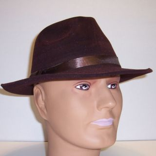 10 Brown Fedora Pimp Zoot Suit Costume Hat Adult New