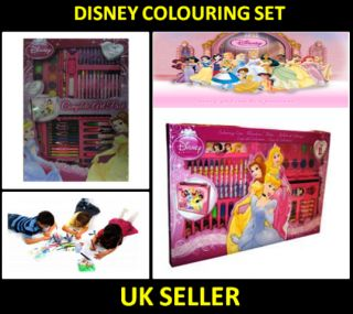 Disney Princess 86 Colouring Carry Case Complete Girls Drawing School Stationery