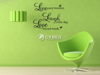 PVC Live Laugh Love Removable Vinyl Wall Sticker Decal Wallpaper Art Home Decor