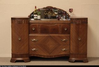 Art Deco Waterfall Sideboard Credenza Etched Mirror