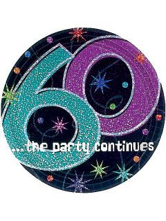 The Party Continues 60th Birthday Cake Plates