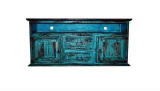 2 Door 2 Drawer TV Stand Turquoise Scraped Western Rustic Flat Screen Console
