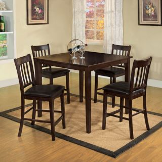 Midtown Espresso Finish Mission Style 5 Piece Counter Height Dining Table Set