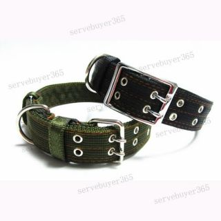 Army Metal Buckle 2 Row Belt Strap Pet Dog Collar Neckband Adjustable Large L XL