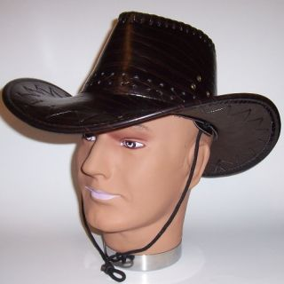 New Black Leatherette Cowboy Hat Leather Like Costume