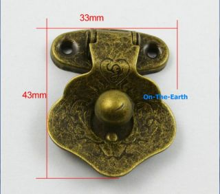 4 Antique Brass Decorative Hasp Jewelry Box Hasp Lock Latch 33x43mm with Screws