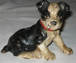 """Best "" Antique Hubley Cast Iron Boston Terrier Puppy Dog Art Statue Doorstop"
