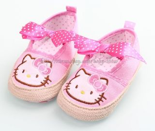 Infant Baby Girls Pink Polka Dot Bow Mary Jane Walking Shoes Size 1 2 3