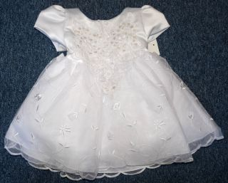 New Baby Girl 3 Piece White Christening Dress Size 12 Months Keepsake Bible
