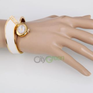 Fashion Women Ladies Girls Snake Bangle Cuff Quartz Bracelet Wrist Watch White