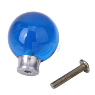 2P 27mm Round Acrylic Ball Pull Knobs Handles for Door Drawer Cabinet Decor Blue