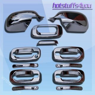 99 06 Chevy Silverado GMC Sierra Chrome Tailgate Door Handle Mirror Covers Set