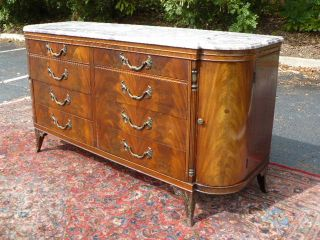 Antique Flame Mahogany French Dresser with Beautiful Marble Top or Vanity Sink