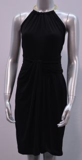 Calvin Klein Womens 12 Matte Jersey Gold Ring Halter Dress Black