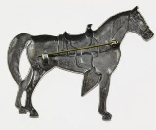 Large Western Saddled Quarter Horse 925 Sterling Silver Brooch Broach Pin