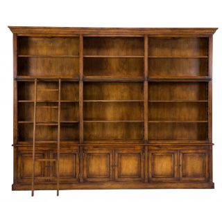 Bookcase Cabinet Extra Large Solid Oak Glass Shelves Lights Ladder New Free SHIP