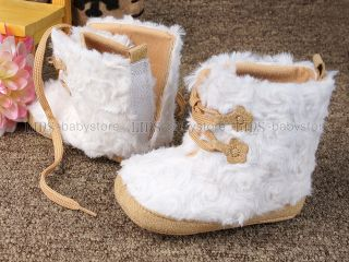 New Toddler Baby Girl White Fur Boots Shoes 3 6 Months A934