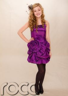 Teen Flower Girl Purple Prom Puffball Party Dress Size Age 6 14 Years