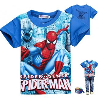 New Cool Kids Boys Girls Spider Man Short Sleeve T Shirts Size 4 5 Years 110