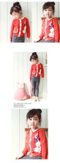 Korean Cute Lucky Cat Bow Knot Polka Dot Girl Kids Child Coat Sweater Outfit 2 6
