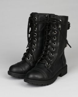 Happy Soda Dome 2S New Leatherette Lace Zipper Buckles Military Combat Boot Tod