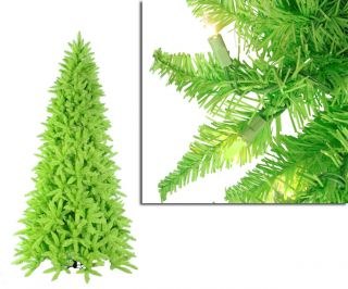 7 5' Pre Lit Slim Lime Grn Ashley Spruce Christmas Tree