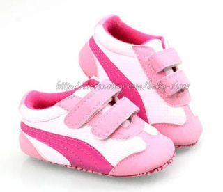 Baby Girl Soft Sole Shoes Toddler Pink White Sneaker Size Newborn to 18 Months