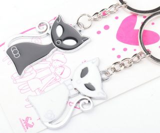 Free SHIP Lovely Sweet Happiness Cats Cat Lover Couple Metal Key Chain Keychains