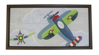 Lambs Ivy Wings Large Framed Canvas Wall Art Airplane Boy's Nursery Decor