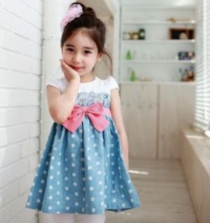 Girls Baby Toddlers Soft Cowboy Blue Top Dot Joint Skirt 1pcs 1 6Y Dress Costume