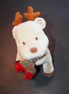 Carters Reindeer Xmas Deer Tan Red Green Scarf Just One Year Plush Baby Toy
