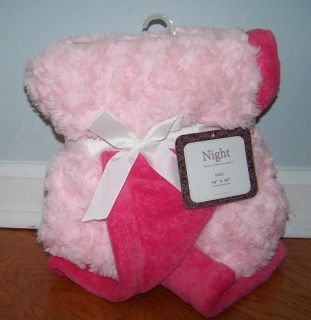 Hot Light Pink Night Swirl Plush Cuddly Soft Reversible Baby Blanket