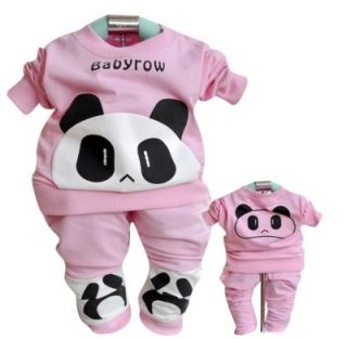 T103 Fashion Cute Panda Warm Baby Clothes Long Sleeve Children's Pants Sets US