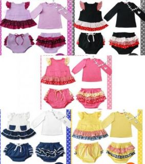 Baby Clothes 3 Pcs Ruffle Top Dress Pants Set SIZE0 4Y New Bloomers Nappy Cover