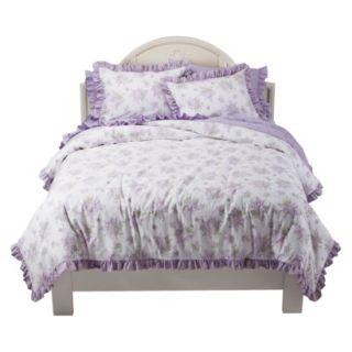 Simply Shabby Chic Lilac Floral Reversible Full Queen Duvet Set