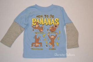 Curious George 3T 4T 5T Boys Girls Shirt Tee Top Long Sleeve Book Worm Bananas