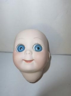 Modern Germany Bisque Doll Head Blue Eyes JDK 221 Hand Painted Lips Eyelashes