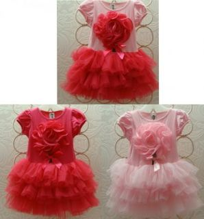 Girls Kids Pettiskirt Tutu Skirt 6 8Y Pink Party Dress Flower Pettidress Clothes
