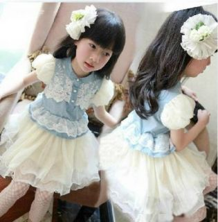 Baby Girls Kids Denim Blue Pegeant Flower Lace Tutu Princess Dress 3 7Y Clothing