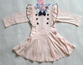 Girls Kids Dress Tutu Skirt Long Sleeve 1 6Y Party One Piece Clothes Cotton