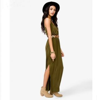 New Womens European Fashion Crewneck Split Sleeveless Chiffon Long Dress B1214