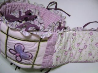 Cocalo Baby Girls Butterfly Purple Pink Plaid Corduroy Ruffles Crib Bumper Pad