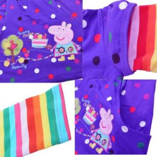 Peppa Pig Girls Baby Cotton Rainbow Long Sleeve Tops Dress T Shirt 1 6Y Clothing