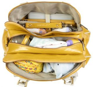 2013 Timi Leslie Faux Leather Convertible Baby Diaper Bag Sophia Yellow White