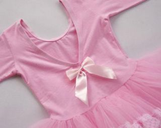 Pink Girl Party Long Sleeve Leotard Ballet Tutu Costume Dance Skirt Dress 3 8Y
