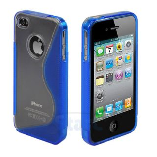 Clear Blue TPU Skin Case Cover for iPhone 4G 4S
